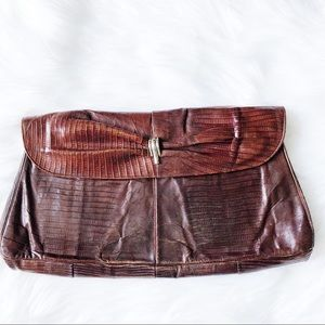 Beautiful Vintage Leather Large Clutch Bag